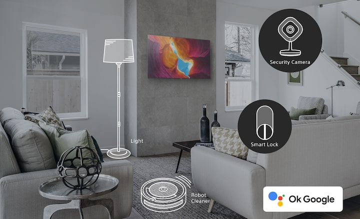 Home interior with highlighted smart home devices