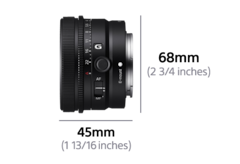 Lens left view with dimension Width 45mm(1 13/16 inches) and Height 68mm(2 3/4 inches)