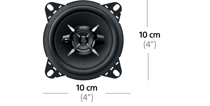 "Dimensions of 10cm (4"") 3-Way Mega Bass Coaxial Speakers"