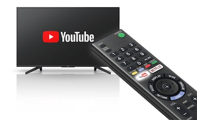 TV and remote commander showing One-button YouTube