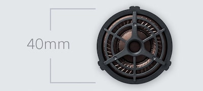 Neodymium dynamic drivers deliver precise sound